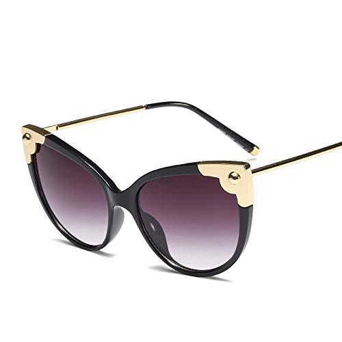 Easy Go Shopping Damenmode Cat Eye Sonnenbrille, UV-Schutz, Linse 65mm. Sonnenbrillen und Flacher Spiegel (Farbe : Black/Gradient Grey)
