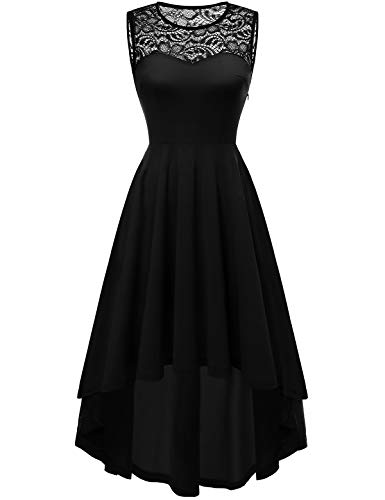 YOYAKER Damen Vintage Retro Spitzen Rundhals Ärmellos Cocktail Party Abendkleider Black XS