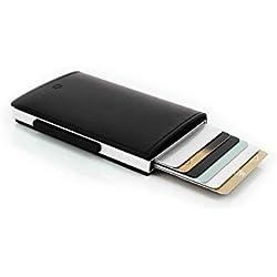 Ögon CL-Black Tarjetero Cascade Wallet Aluminio y Cuero Italiano Negro