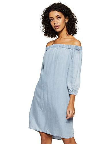ONLY Damen onlJANICE Off Shoulder DNM Dress QYT Kleid, Blau Light Blue Denim, 34