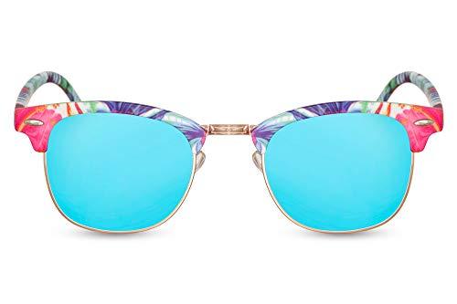 Cheapass Sonnenbrille Verspiegelt Rechtekig UV-400 Bunt Browline Festival-Brille Plastik Damen Herren
