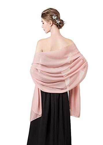 CoCogirls Chiffon Stola Schal für Kleider in verschiedenen Farben zu jedem Brautkleid - Abendkleid, Hochzeit Abend Gala Empfang (One-Size, Blush 1)