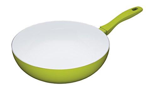 """KitchenCraft Colourworks Non-Stick Ceramic Wok, 30 cm (12"""") - Green"""