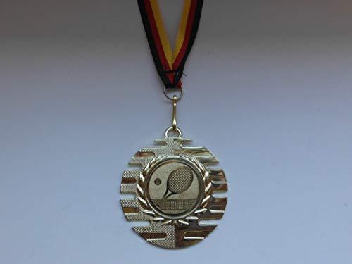 20 x Medaillen - aus Metall 50mm - mit Einem Emblem - Tennis - Logo - inkl. Medaillen Band - Farbe: Gold - (e237) -