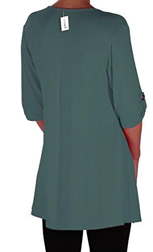 EyeCatch Plus - Tunique basique col en V - Shellie - Femme - Grandes Tailles Sarcelle