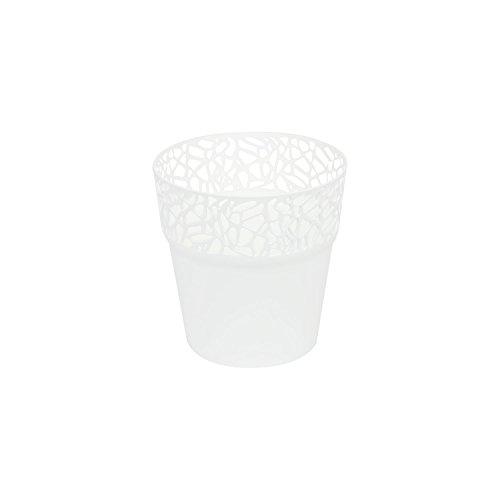 Rond cache-pot 12 cm NATURO plastique romantique style en blanc