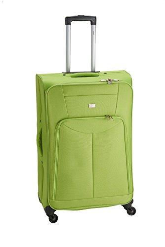 PURE Koffer BASIC / Trolley groß (L) / Reisegepäck / Weichgepäck / Reisekoffer / Superleicht / Vortasche / grün / 88 liter