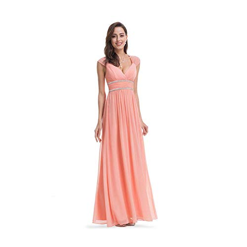 MOOPYS& Cheap Long Homecoming Dresses Formal Evening Bridesmaid Wedding Dresses V Neck Peach 12 Pleated Faux Wrap