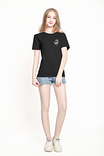 PINJIA Damen T-Shirt Schwarz Rose