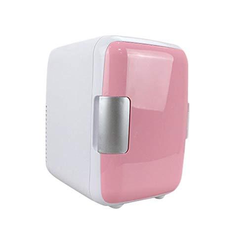 HM&DX Tragbare Mini Kühlschränke Gefrierfach Kühler und Wärmer 6 Dosen Leise Minibar Kühlschrank Kompakt Energy-Star Auto Zimmer Büro-Rosa 4L