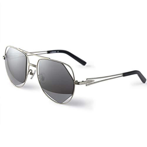 LORSEX Sonnenbrille Damen Herren Metall Rahme Ultra Leicht Mode Pilotenbrille Aviator Sonnenbrille UV400 Schutz (Grau)