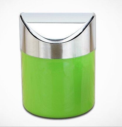 Generic Mini Stainless Steel Wave cover Countertop Small trash can Kitchen Desktop Mini Wastebasket Desk Organizer Household Supplies Green