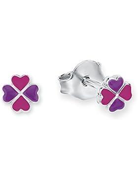 Prinzessin Lillifee Kinder-Ohrstecker Mädchen Kleeblatt 925 Silber rhodiniert Emaille pink lila