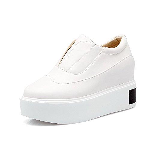 VogueZone009 Femme Couleur Unie Matière Mélangee à Talon Haut Tire Rond Chaussures Légeres Blanc