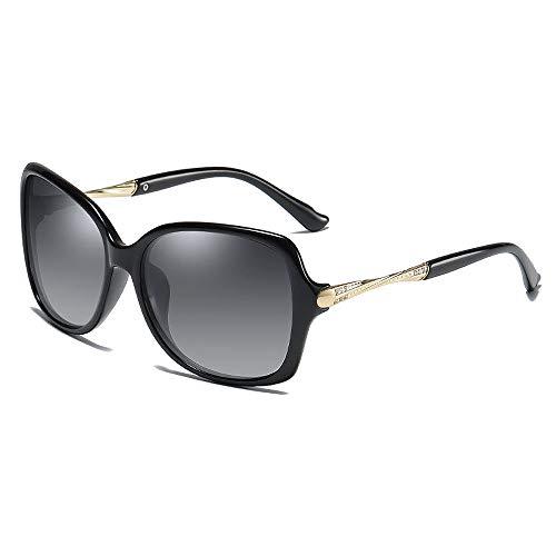 BlueAurora Damen polarisierte Sonnenbrille, Mode große Rahmen Brille für Frauen,Black