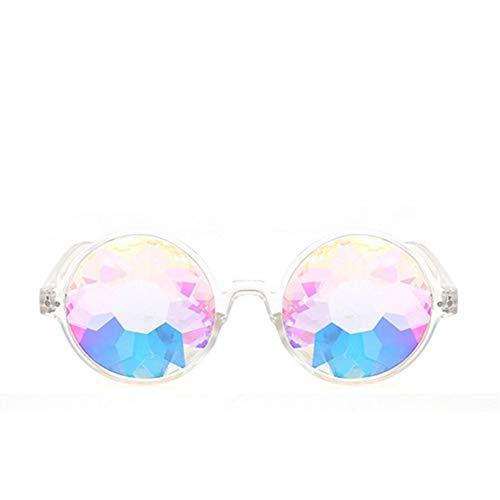 MOLUO Sonnenbrille Kaleidoskop Brille Rave Männer Runde Kaleidoskop Sonnenbrille Frauen Party Psychedelic Prism Diffracted Lens Sonnenbrille Weiblich, klar