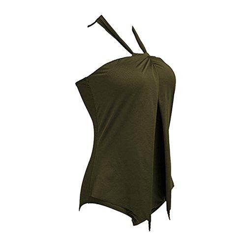 Sue&Joe Damen Badeanzug, Einfarbig armee-grün
