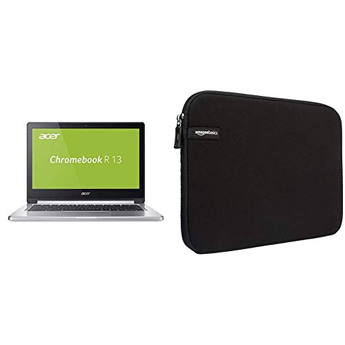 Acer Chromebook R 13 (13,3 Zoll Full-HD IPS Multi-Touch, 360° Convertible, Aluminium A- & D-Cover, USB 3.1 (Type-C), Google Chrome OS) Silber & AmazonBasics Laptophülle für 33,8-cm-Laptops Schwarz