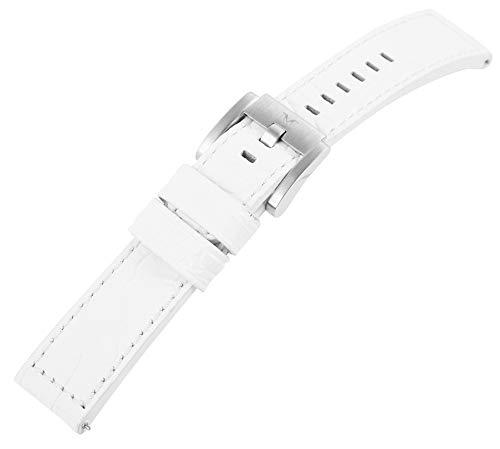 TW Steel Echt Leder Armband, 22 mm, weiß, Silber, Schließe