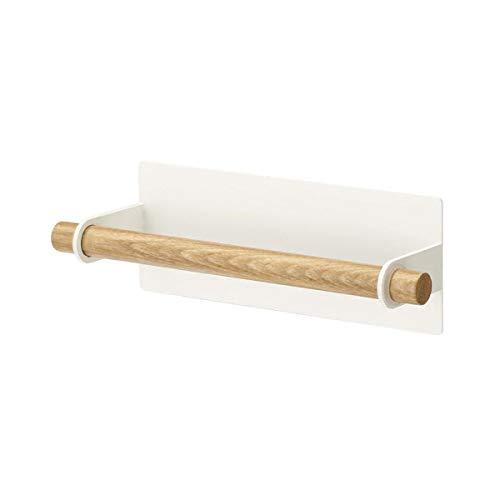 TentHome Küchenrollenhalter Rollenhalter Küche Papierrollenhalter Metall Holz Handtuchhalter Ohne Bohren Handtuchstange Magnetisch Küchen Bad Zubehör (Weiß(Holz))