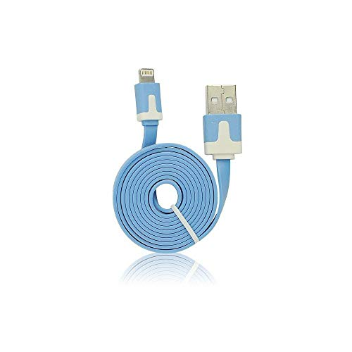 ALPEXE 67642 USB Plat Cble - Apple Iphone 5/5C/5S/6/6 Plus/7/7 Plus/Ipad Mini/Bleu