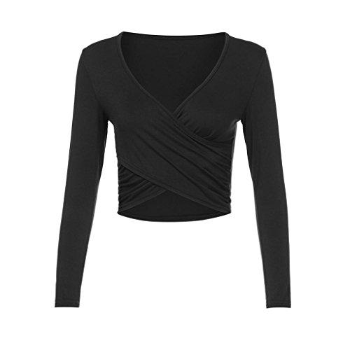 TUDUZ Damen Oberteile Elegant Sexy V-Ausschnitt Langarm Cross Wrap Slim Fit Casual Crop Tops Bluse Basic Shirt (Schwarz, S)