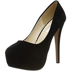 OCHENTA Zapatos de Vestir de Material Sintético para Mujer Zapatos con Tacon Alto para Mujer Plataforma Negro EU 39