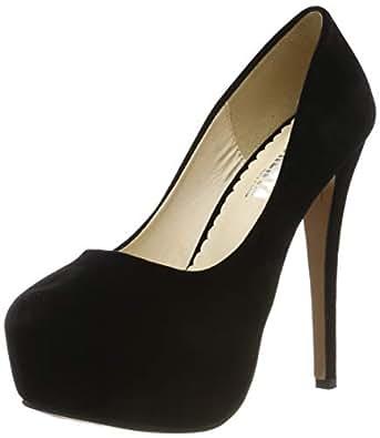 84b1616b788 Women s Round Toe Stiletto High Heel Platform Slip On Pumps Black EU Size  35 - UK