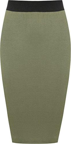 WearAll - Damen Übergröße Einfarbig Anliegend Stretch Bleistiftrock Midi Rock - Khaki - 52-54