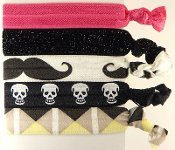 5pc Hair Bands, Pony Tail Holder, Hair Ties, Hairties Bracelet Hair Ties, Hair Ties Wristlet Mustache, Skulls, Pink, Black And White.