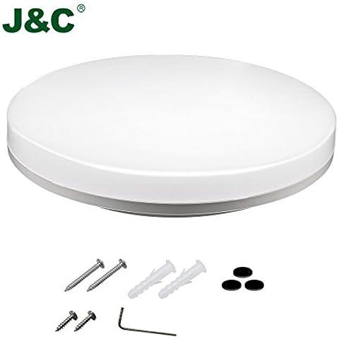 J & C IP5412W LED lampada da soffitto bagno lampada da parete lampada luce corridoio ambienti umidi bianco naturale (4000–4500K) impermeabile (Type A), 18W-Type D, B22d 18.00 wattsW 100.00