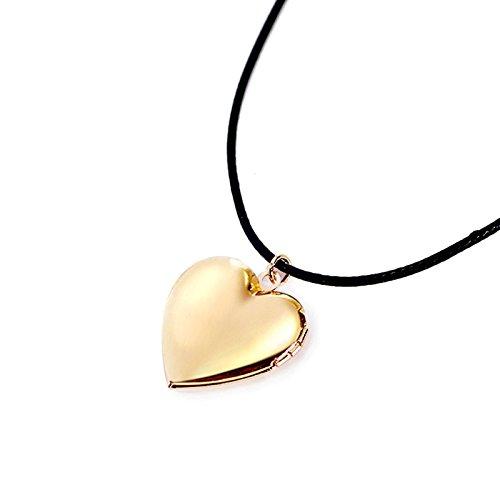 Daesar Edelstahl Kette Herz mit Gravur Anhänger Halskette Kette Foto Medaillon zum Öffnen Photo Bilder Amulett für Damen Mädchen Gold Kette Länge 35cm