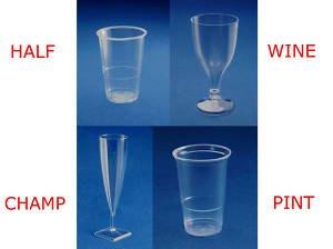 Party Lot de verres en plastique-Demi-pinte de bière, vin, flûtes à champagne, verres à Shot
