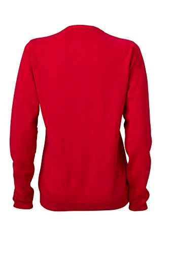 James & Nicholson Damen V-Neck Cardigan Strickjacke Rot (Red)