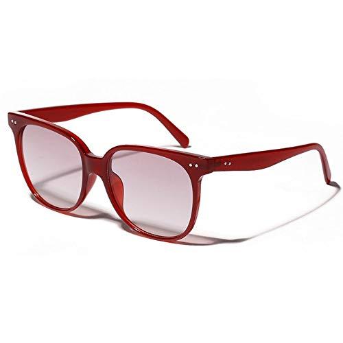 MJDABAOFA Sonnenbrillen, Frauen Sonnenbrille Tief Roten Rahmen Lila Objektiv Fashion Designer Sonnenbrille Lady Brillen Vintage Shades Sonnenbrille Uv400