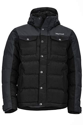 Marmot Fordham Jacket, Piumino Leggero Isolante, Densità Dell'imbottitura 700, Cappotto da Esterno, Giacca Impermeabile Idrorepellente, Antivento Uomo, Black, M