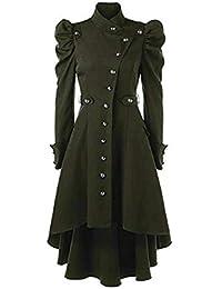 603d0c79ad Oeak Damen Herbst Elegant Gothic Mäntel Kleider Trenchcoat Lang Parka mit  Asymmetrisch Saum Jacke…