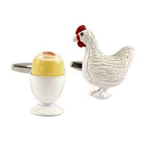 1StopShops Huhn und gekochtes Ei Manschettenknöpfe in Geschenkbox