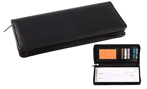 Scheckheft-Hülle für Geschäftsgröße und Reisende, Kunstleder, mit Reißverschluss und integrierten Aufbewahrungstaschen für seitliche Risse schwarz (Schwarze Damen-scheckheft Brieftasche)