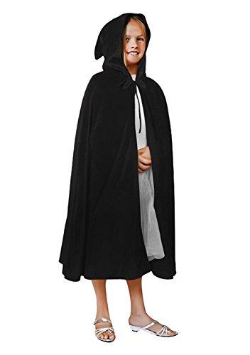 (Kinder Halloween Kostüm Halloween Umhang mit Kapuze Lange Samt Bekleidung Fasching Karneval Kostüm Cosplay Requisiten Set für Mädchen Junge, Schwarz, Einheitsgröße)