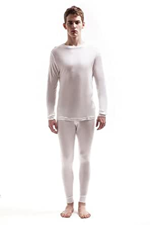 Jasmine Silk Men's Round Neck Pure Silk Thermal Long Sleeves Top Ivory (Small)