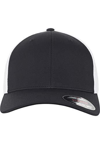 2-tone Baseball Cap (Flexfit Ultrafibre und Airmesh 2-Tone Cap, Black/White, S/M)