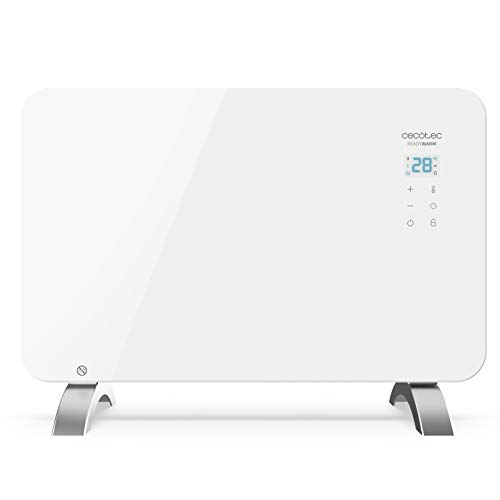 Cecotec Convector de Cristal de 1000 W. Potente. WiFi. Termostato Regulable. Temporizador. con Soporte de pie. Protección sobrecalentamiento. Silencioso. Ready Warm 6650 Crystal Connection