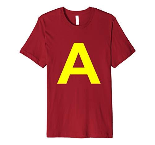 Streifenhörnche Halloween Kostüm Hemd Buchstabe A für Alvins