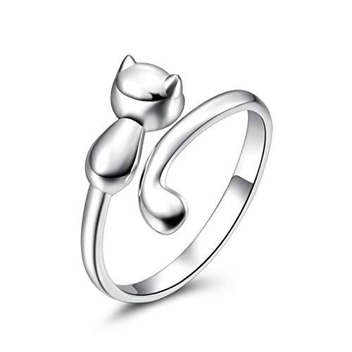 Yinew Schmuck Damen-Ring Katze-Form-Ringe Öffnung Verstellbar, Mattglasbirne