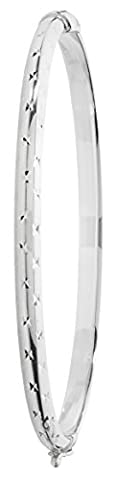 Ladies Sterling Silver 5mm Diamond Cut Hinged Bangle - 6.77 grams - British Made - Hallmarked