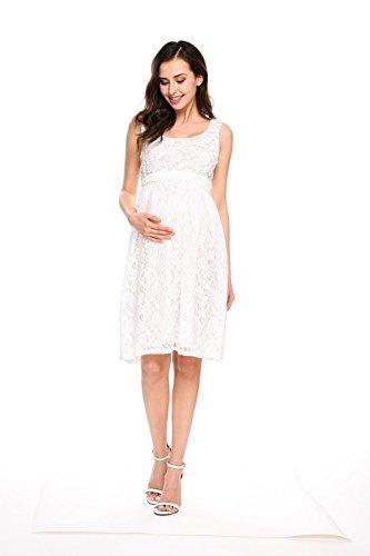 HOTOUCH Damen Umstandskleid Maternity Kleid Jerseykleid Schwangerschafts Kleid Spitzenkleid Tank Kleid Empire Kleid Spitzen Ärmellose Rundhals Typ2-Weiß mit Gürtel