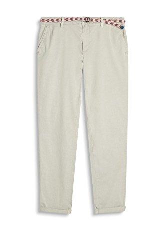ESPRIT Damen Hose mit Gürtel 037EE1B002 Grau (Light Grey 040)