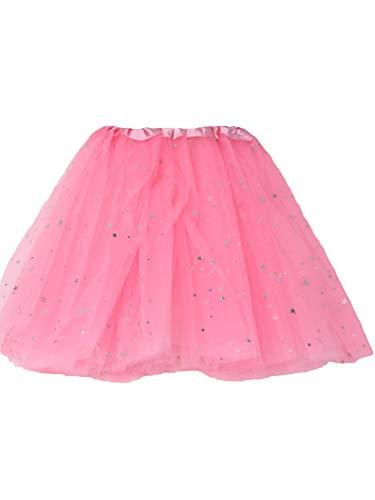 Allaccessories Tutu Net Rock Silber glitzernden Sternen Fancy Kleid Ballett Kleid bis Pink oder Weiß