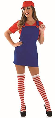 Damen Sexy Mario Luigi Klempner Cartoon Spiel 80s Jahre 90s Jahre Kostüm Kleid Outfit - Rot, (Sexy Mario Und Luigi Kostüm)
